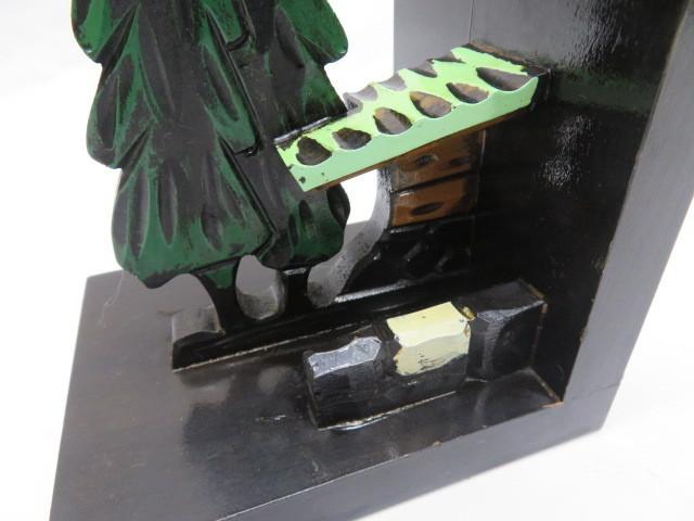 昭和レトロ 木製ブックエンド 水車小屋 本立て_画像7