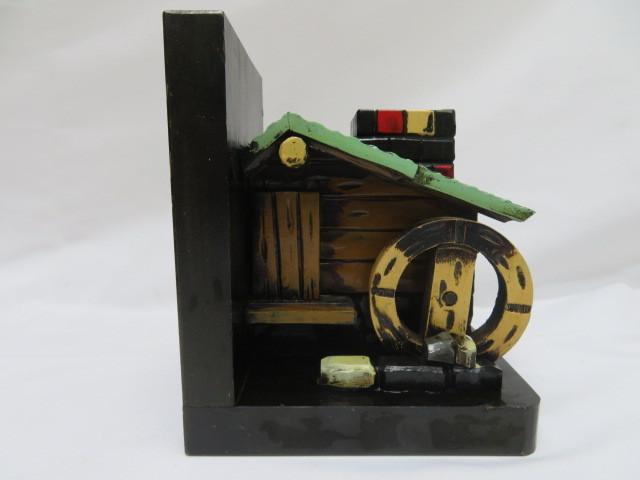 昭和レトロ 木製ブックエンド 水車小屋 本立て_画像2