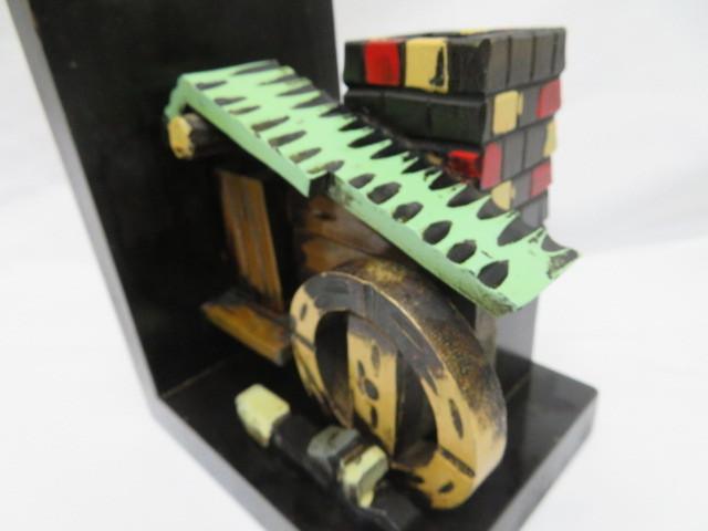 昭和レトロ 木製ブックエンド 水車小屋 本立て_画像3