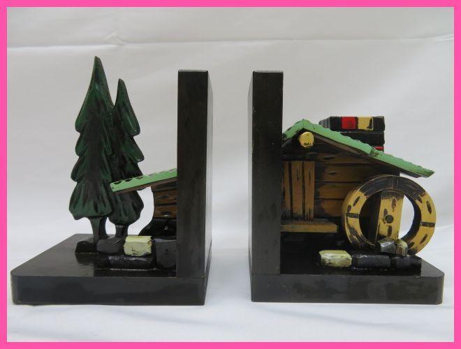 昭和レトロ 木製ブックエンド 水車小屋 本立て_画像1