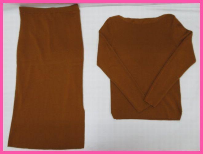 ROPE ロペ レディース ニット セーター×ロングスカート 38 ブラウン 毛100%_画像1