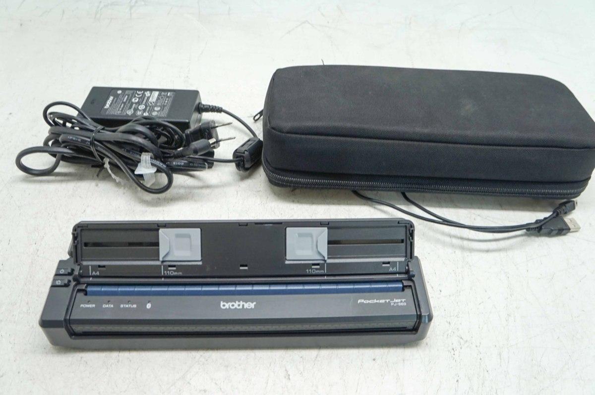 【動作保証付】 ブラザー PocketJet PJ-663 Bluetooth接続 熱転写 小型モバイルプリンター ペーパーガイド&リチウムイオン充電池&ケース