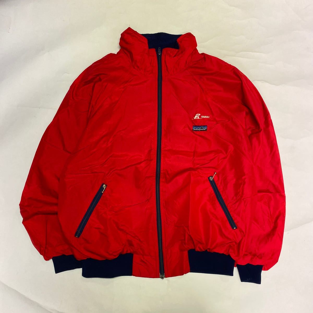 80s patagonia パタゴニア シェルチンジャケット 赤 ネイビー ut3080_画像1