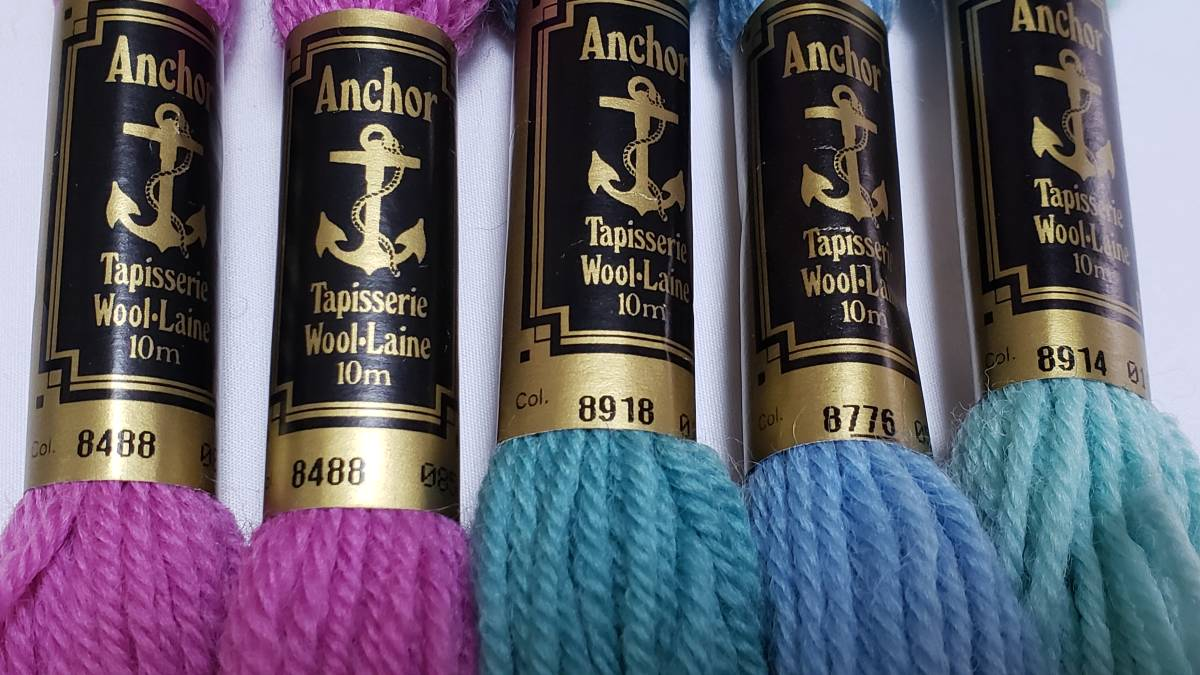 No.295 アンカー糸 TAPESTRY WOOL abchor 金帯 20本 刺繍・こぎん 美品_画像3
