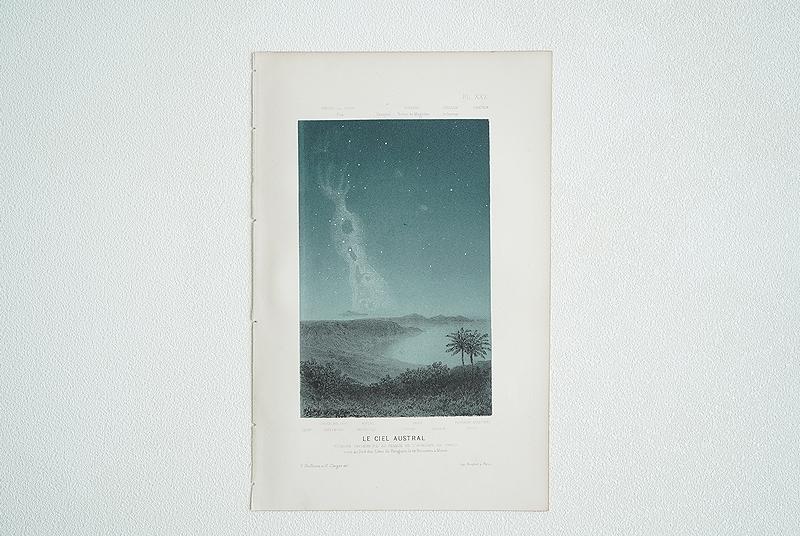 【1865年 アンティーク天文図版 真夜中の星空 フランス 紙もの】星座 天体観測 ビンテージ レトロ ブロカント 天文学 古道具 インテリアに