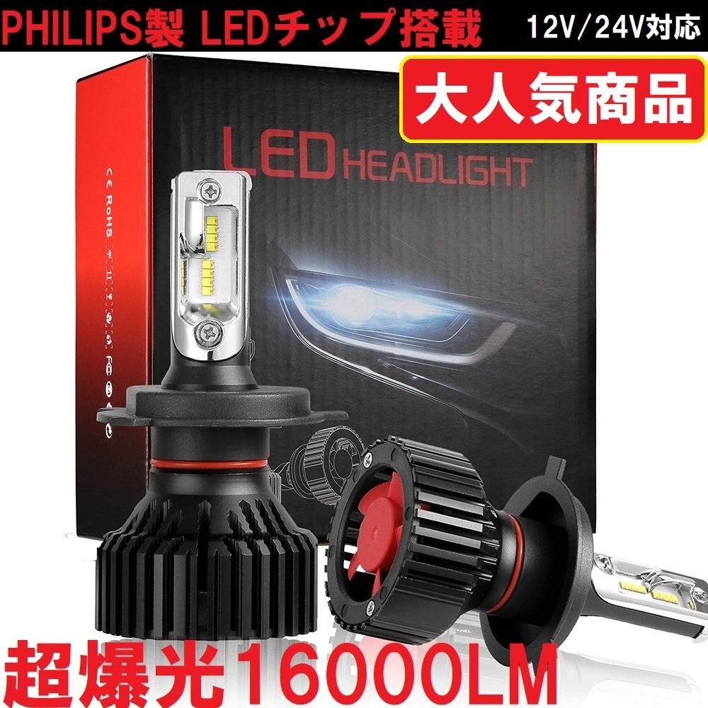 送料無料 PHILIPS 16000LM 令和Ver 正規版 LED ヘッドライト フォグ 左右2個セット 6500K 12V/24V対応 H4/H8/H9/H10/H11/H16/HB3/HB4選択可