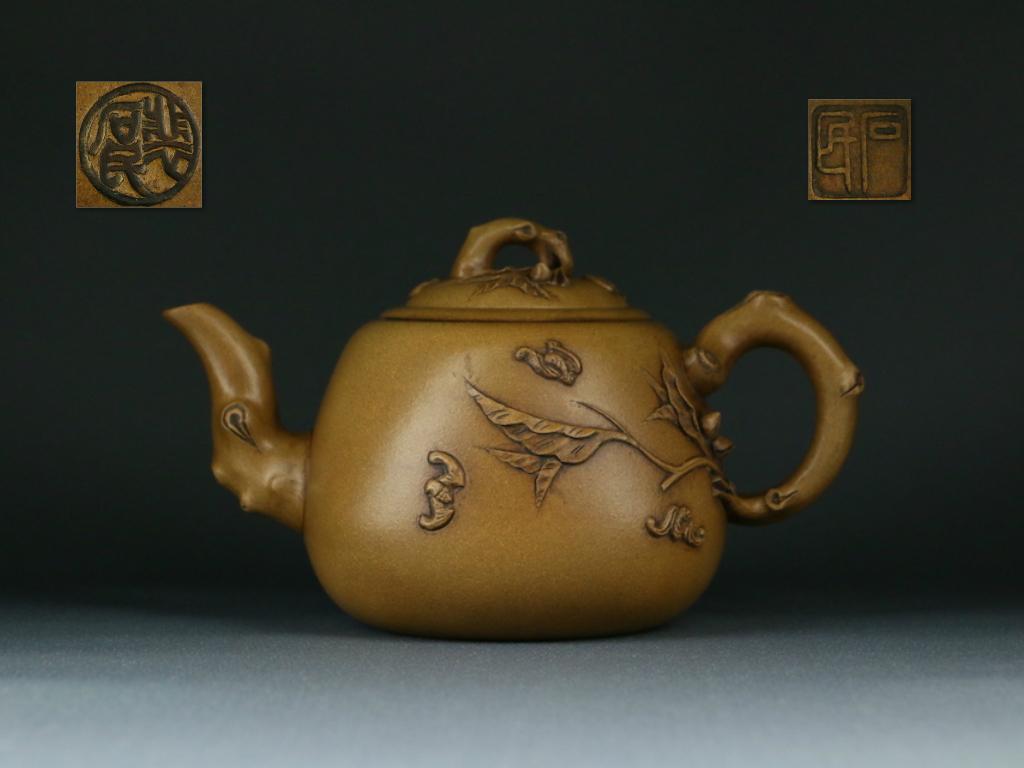 唐物 大振り 白泥段泥の急須 銘有り 煎茶道具 古玩 宜興紫砂 時代物_画像1