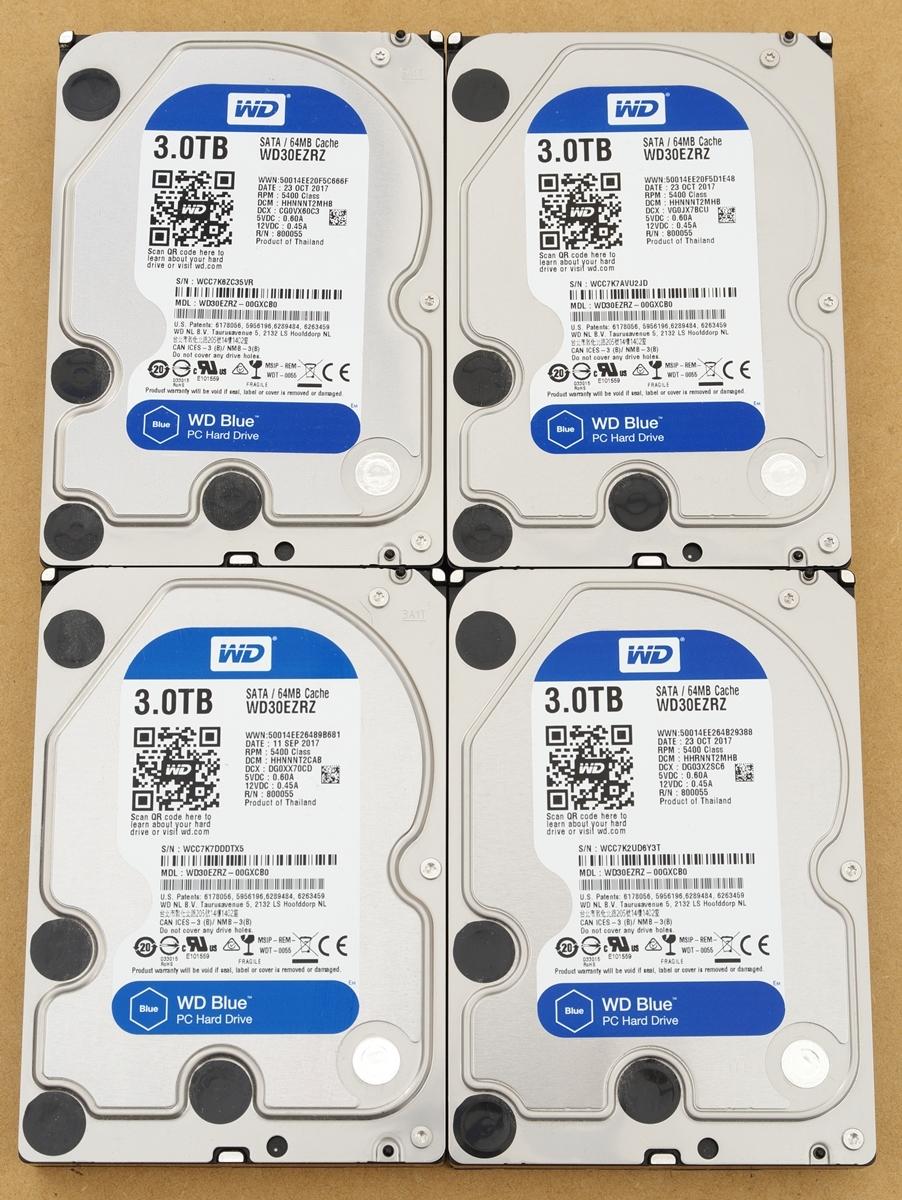 【送料無料】WesternDigital WD30EZRZ 3.5インチ HDD 3TB SATA 【4台セット】