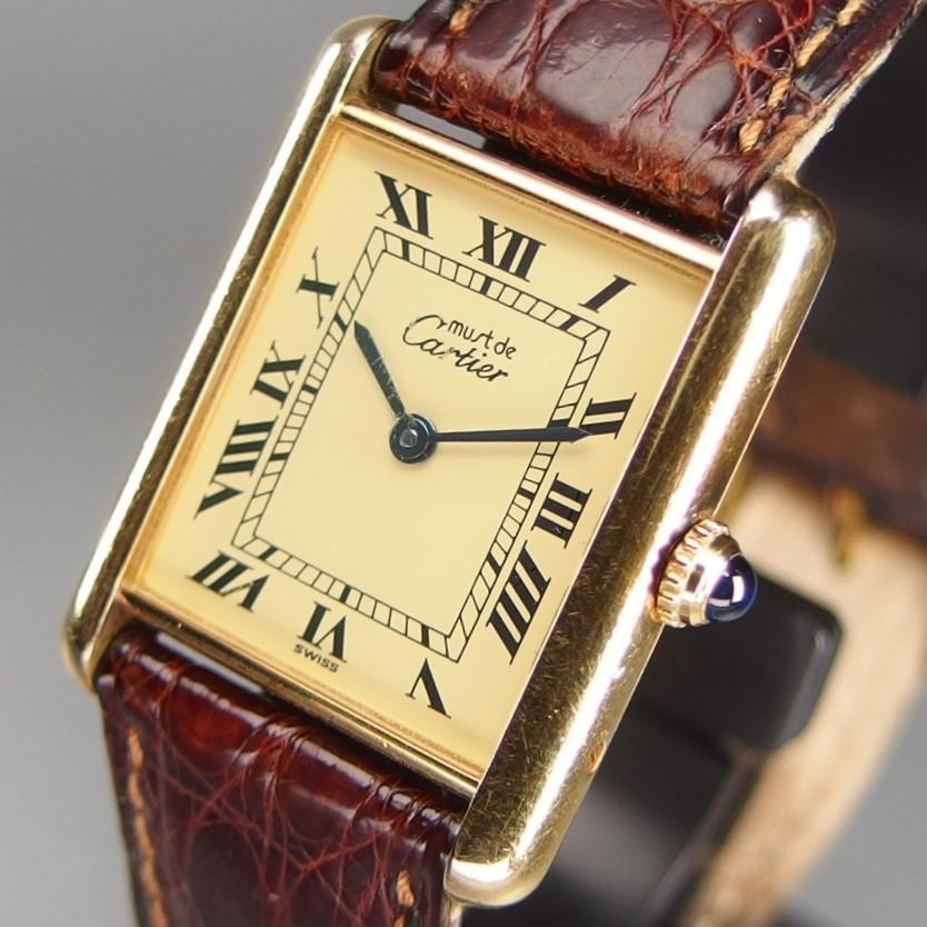 CARTIER カルティエ must de Cartier Tank マスト タンク ヴェルメイユ SV925xGPxレザー ローマンダイヤル QZ メンズ 腕時計
