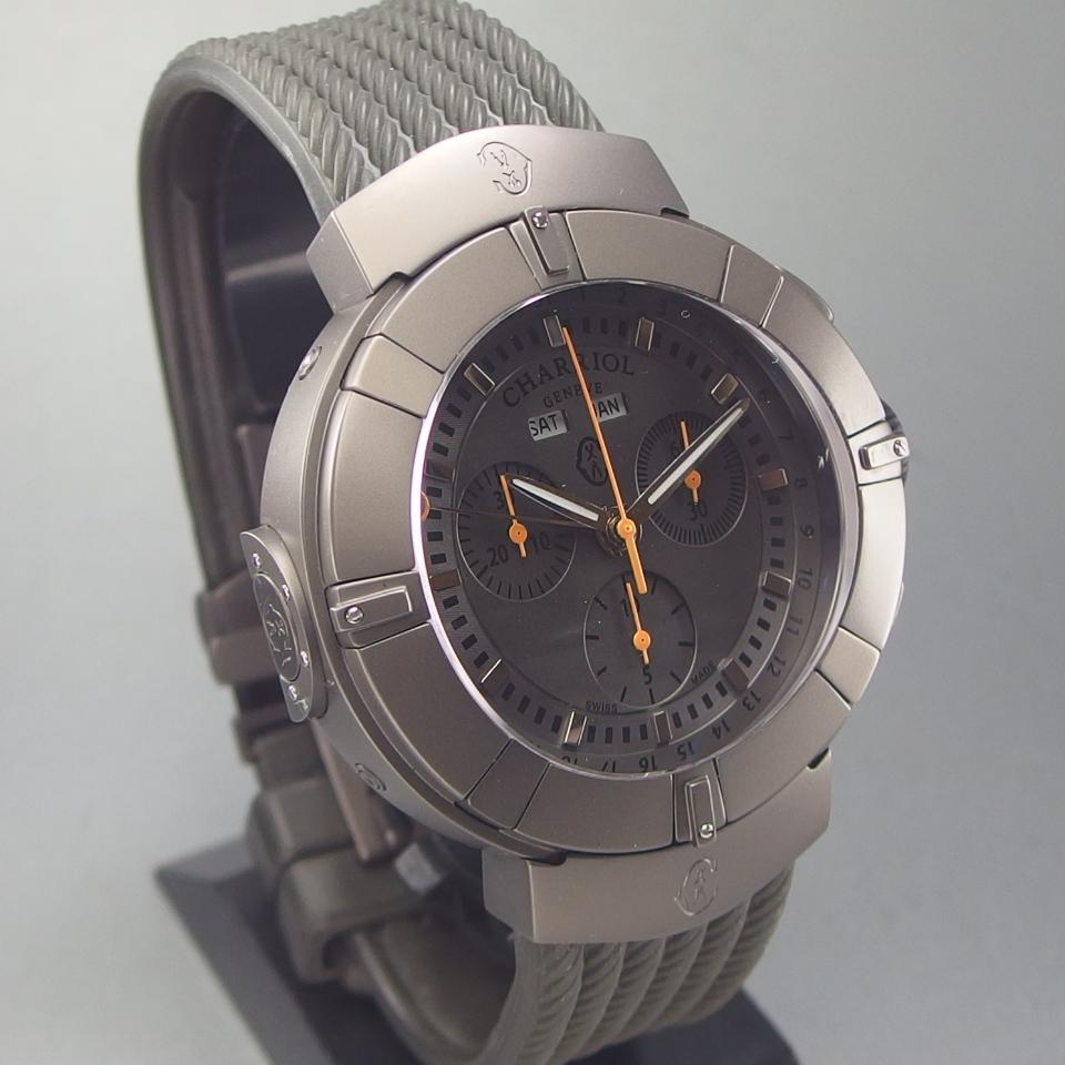 【希少 クロノ デイデイト 美品】CHARRIOL シャリオール CELTICA セルティカ C44GM.174.004 QZ SSxラバー メンズ 腕時計 ギャラ/取説/箱付_画像3