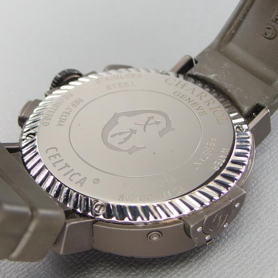【希少 クロノ デイデイト 美品】CHARRIOL シャリオール CELTICA セルティカ C44GM.174.004 QZ SSxラバー メンズ 腕時計 ギャラ/取説/箱付_画像9