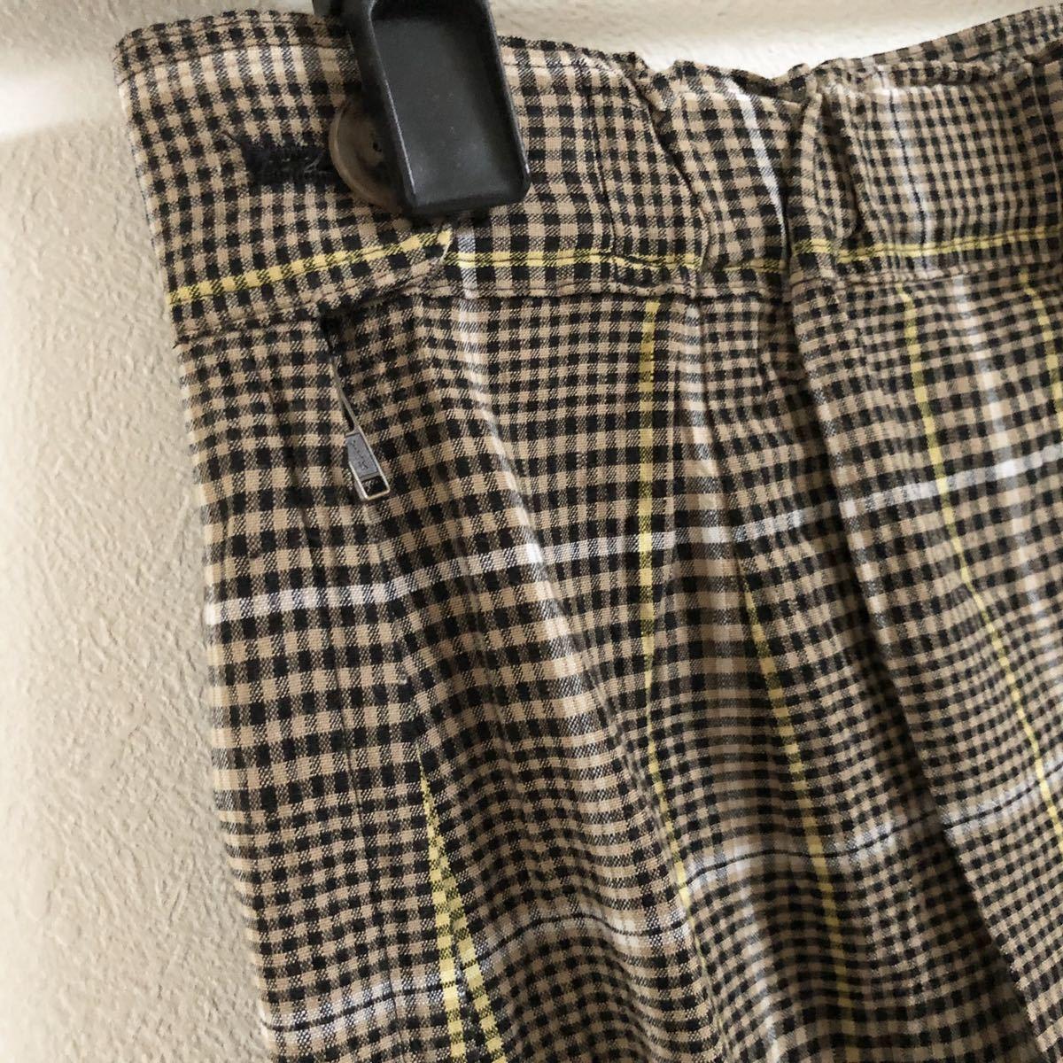 ESTNATION エストネーション チェック柄リネンスカート36 ロングスカート タイトスカート ウエストゴム スリット ポケット付き