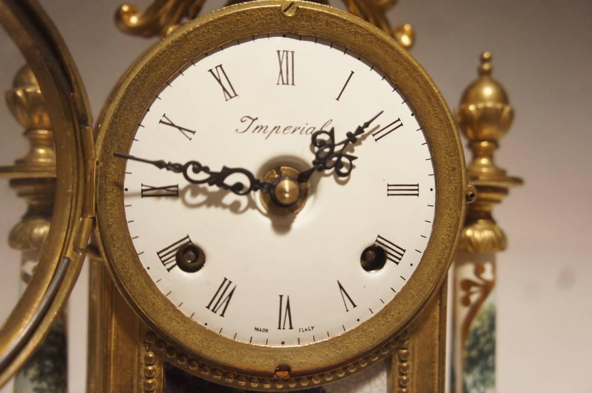 イタリア製  インペリアル オルモルブロンズ 手書き磁器(作者のサイン有り) 装飾時打ち8日巻きテンプ式置き時計可動品_画像4