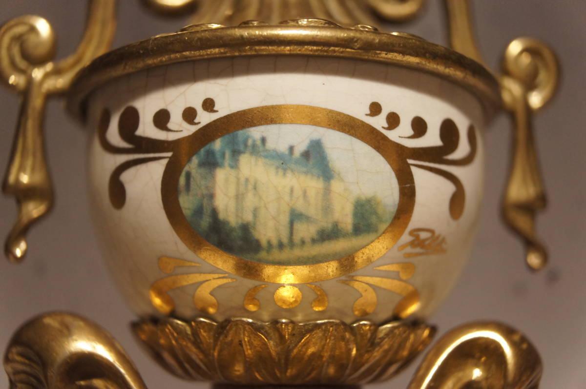 イタリア製  インペリアル オルモルブロンズ 手書き磁器(作者のサイン有り) 装飾時打ち8日巻きテンプ式置き時計可動品_画像6