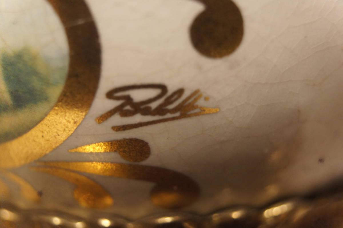 イタリア製  インペリアル オルモルブロンズ 手書き磁器(作者のサイン有り) 装飾時打ち8日巻きテンプ式置き時計可動品_画像7