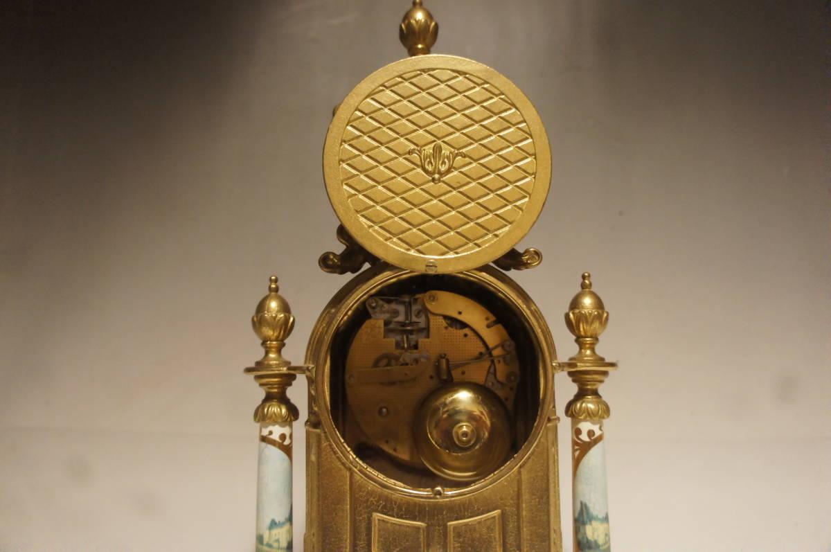 イタリア製  インペリアル オルモルブロンズ 手書き磁器(作者のサイン有り) 装飾時打ち8日巻きテンプ式置き時計可動品_画像8