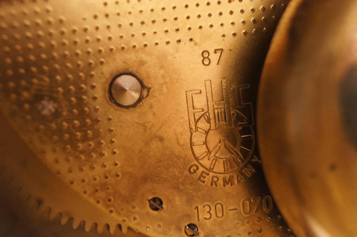 イタリア製  インペリアル オルモルブロンズ 手書き磁器(作者のサイン有り) 装飾時打ち8日巻きテンプ式置き時計可動品_画像10