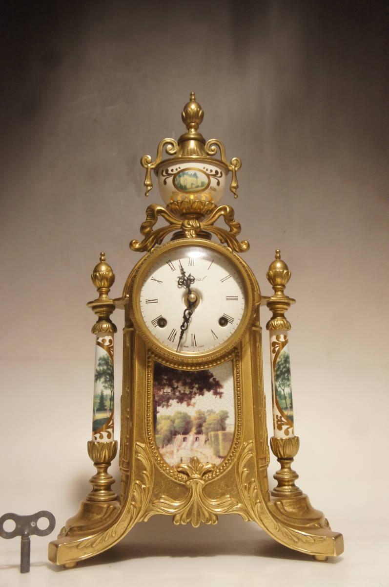 イタリア製  インペリアル オルモルブロンズ 手書き磁器(作者のサイン有り) 装飾時打ち8日巻きテンプ式置き時計可動品_画像1