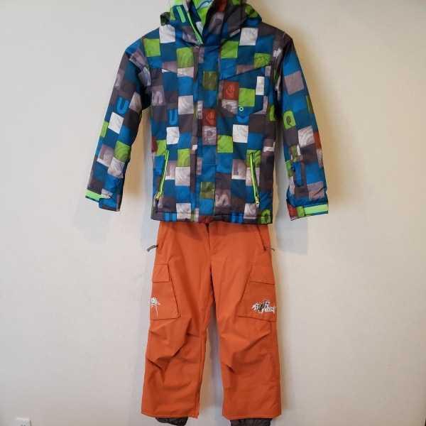 子供用 クイックシルバージャケット、BURTON バートンパンツ スノーボードウェア上下セット【上着S/ズボンM】スキーウェアーにも