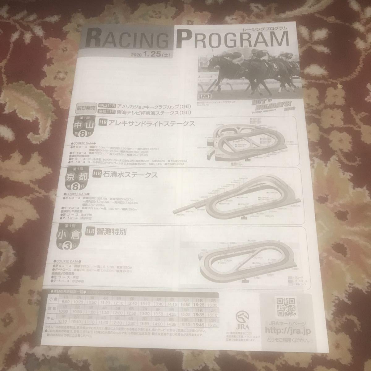 JRAレーシングプログラム2020.1.25(土)アレキサンドライトステークス、石清水ステークス、響灘特別_画像1