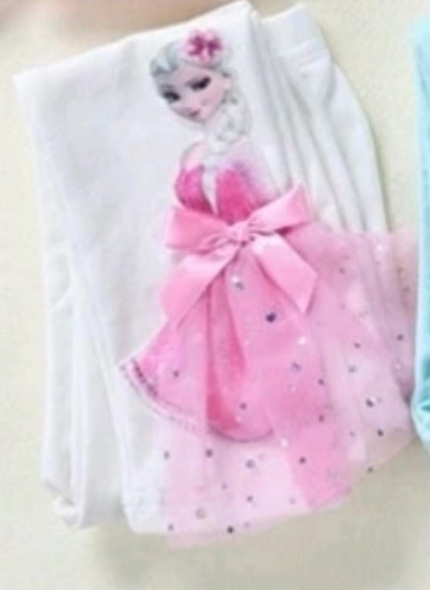 新品☆大人気☆アナと雪の女王 エルサ アナ雪 レギンス パンツ ホワイト ピンクドレス 100サイズ ドレス リボン 刺繍 立体的