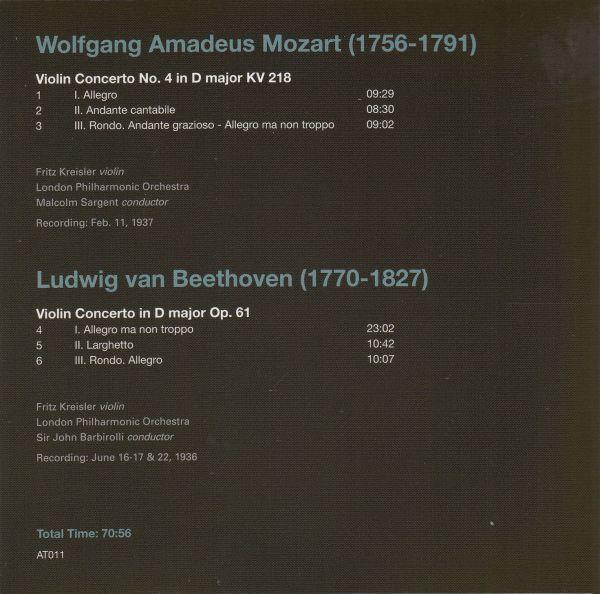 [CD/Artis]ベートーヴェン:ヴァイオリン協奏曲ニ長調Op.61他/F.クライスラー(vn)&J.バルビローリ&ロンドン・フィルハーモニー管弦楽団 1936_画像2