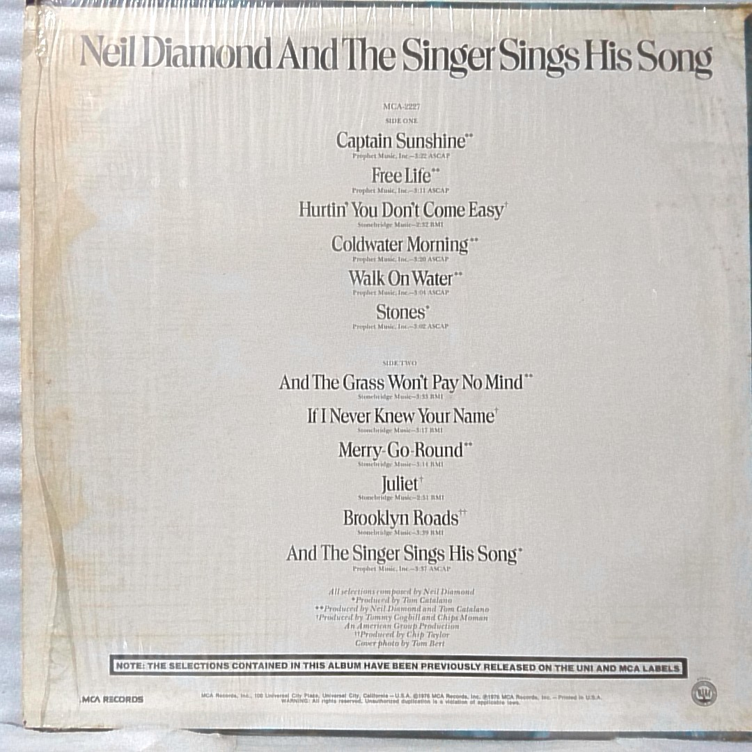 NEIL DIAMOND AND THE SINGER SINGS HIS SONG★ US盤 シュリンク付★アナログ盤 [4070RP_画像2