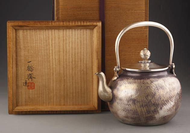 一鶴齋造 純銀望月形鎚目湯沸 銀瓶 共箱