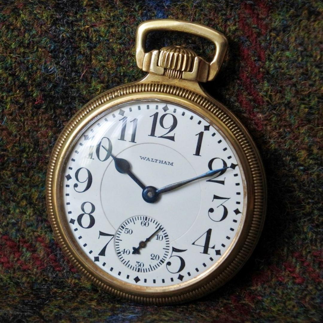 ◆1円スタート◆1903年 アンティーク 動作良好 ウォルサム ヴァンガード 23石 K14金張 懐中時計 機械式 手巻き /鉄道時計 WALTHAM VANGARD