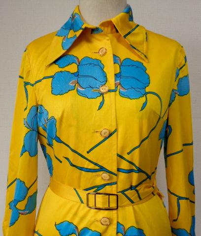 古着♪レトロ・Vintage個性的!黄青サイケ花柄モッズワンピ♪ワンピース70s60s70年代60年代ヴィンテージ衣装長袖9号衣装派手ヨーロッパ_画像2