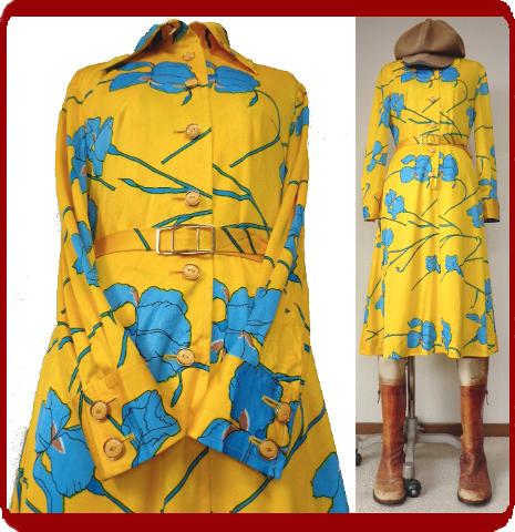 古着♪レトロ・Vintage個性的!黄青サイケ花柄モッズワンピ♪ワンピース70s60s70年代60年代ヴィンテージ衣装長袖9号衣装派手ヨーロッパ