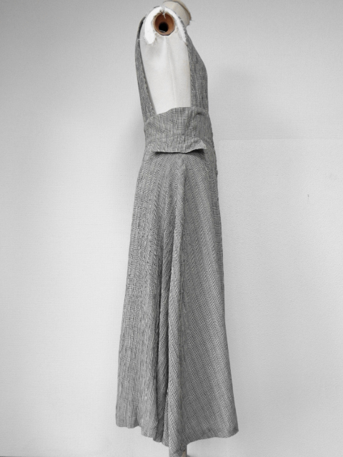 古着♪レトロ・Vintageグレーチェックジャンスカ♪ワンピース70s60s70年代60年代ヴィンテージモッズクラシカルヨーロ昭和シンプルフレアー_画像4