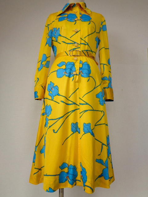 古着♪レトロ・Vintage個性的!黄青サイケ花柄モッズワンピ♪ワンピース70s60s70年代60年代ヴィンテージ衣装長袖9号衣装派手ヨーロッパ_画像3