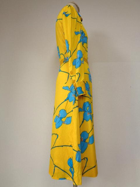 古着♪レトロ・Vintage個性的!黄青サイケ花柄モッズワンピ♪ワンピース70s60s70年代60年代ヴィンテージ衣装長袖9号衣装派手ヨーロッパ_画像4