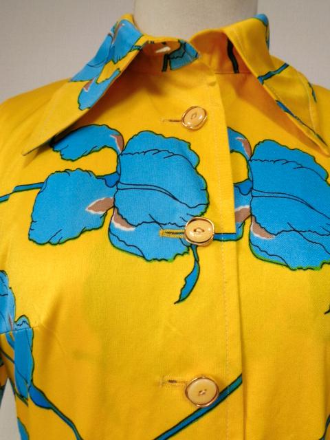 古着♪レトロ・Vintage個性的!黄青サイケ花柄モッズワンピ♪ワンピース70s60s70年代60年代ヴィンテージ衣装長袖9号衣装派手ヨーロッパ_画像5