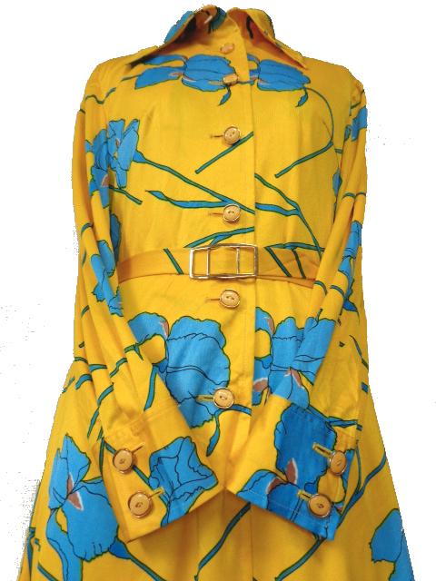 古着♪レトロ・Vintage個性的!黄青サイケ花柄モッズワンピ♪ワンピース70s60s70年代60年代ヴィンテージ衣装長袖9号衣装派手ヨーロッパ_画像6