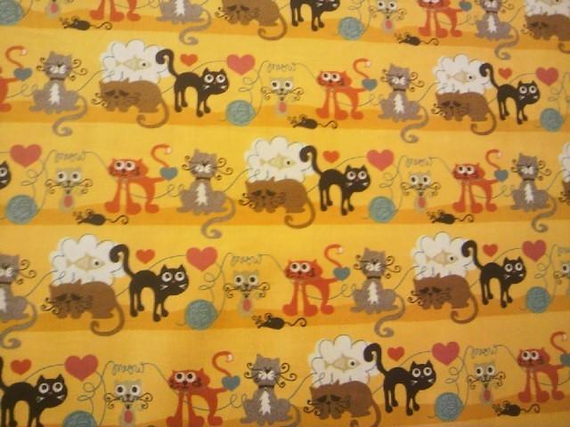 ★新品★USAコットン★moda★カットクロス★黄色地いろいろな猫柄★_画像2