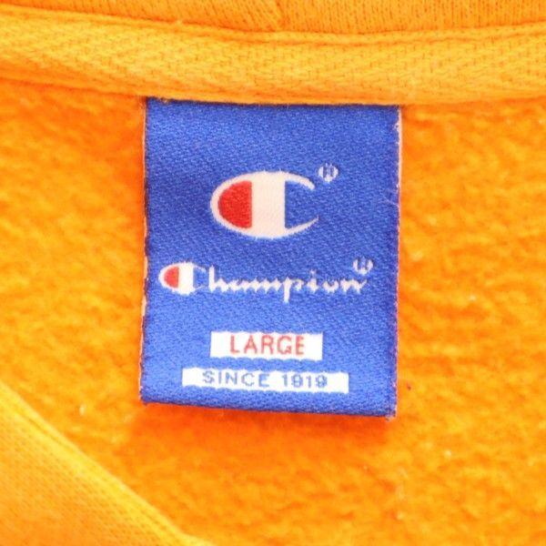 チャンピオン スウェット ジップ パーカー Champion ワンポイント刺繍 長袖 L オレンジ メンズ 200123_画像9