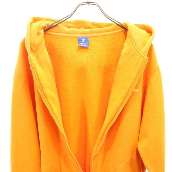 チャンピオン スウェット ジップ パーカー Champion ワンポイント刺繍 長袖 L オレンジ メンズ 200123_画像7
