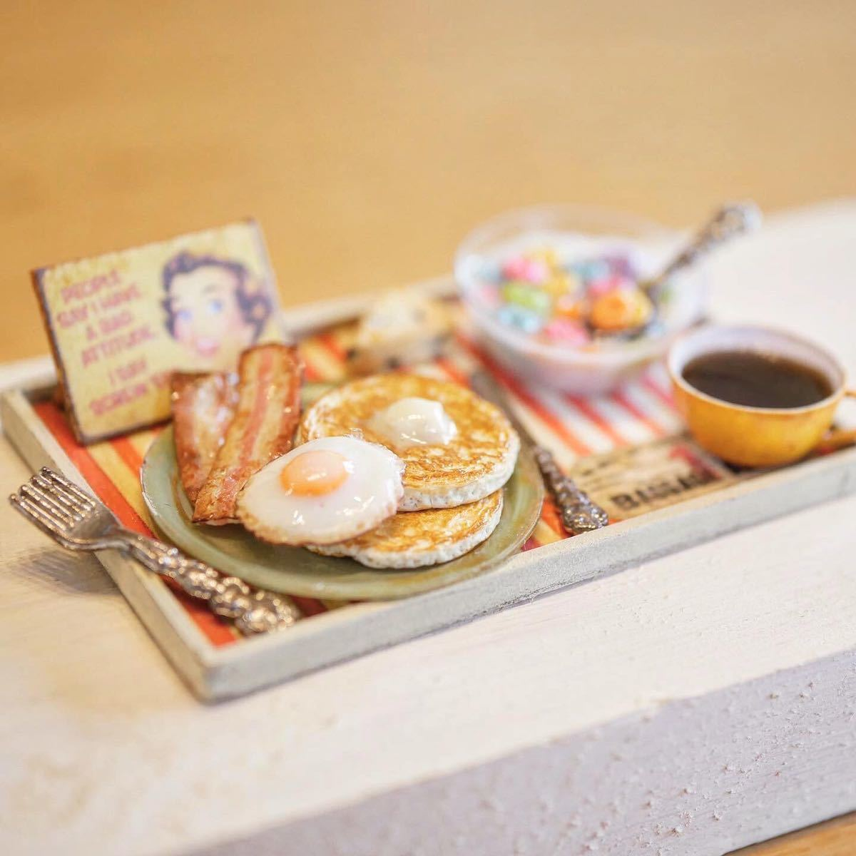 noecoro's 【ミニチュア】American breakfast set. ①