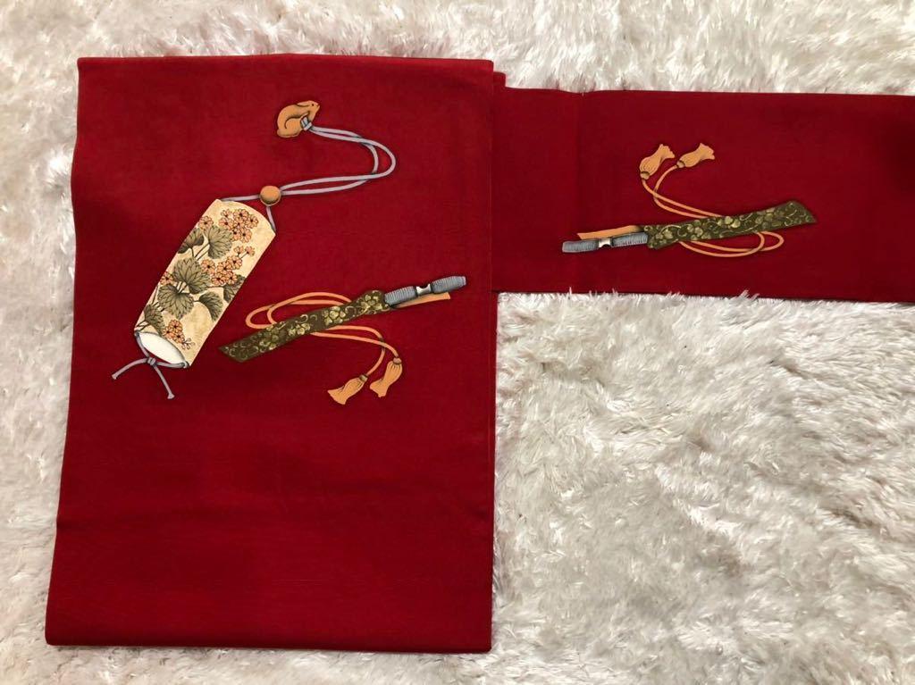 送料無料☆ウサギ柄正絹名古屋帯   和装  着物帯♪リメイク 手芸素材約巾     約_画像2