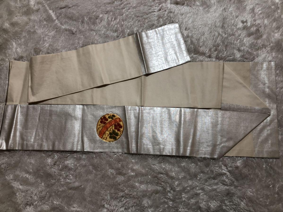 送料無料☆正絹亀、花刺繍名古屋帯 和装 着物帯♪リメイク ♪巾約30.5cm長さ約351.5cm_画像4