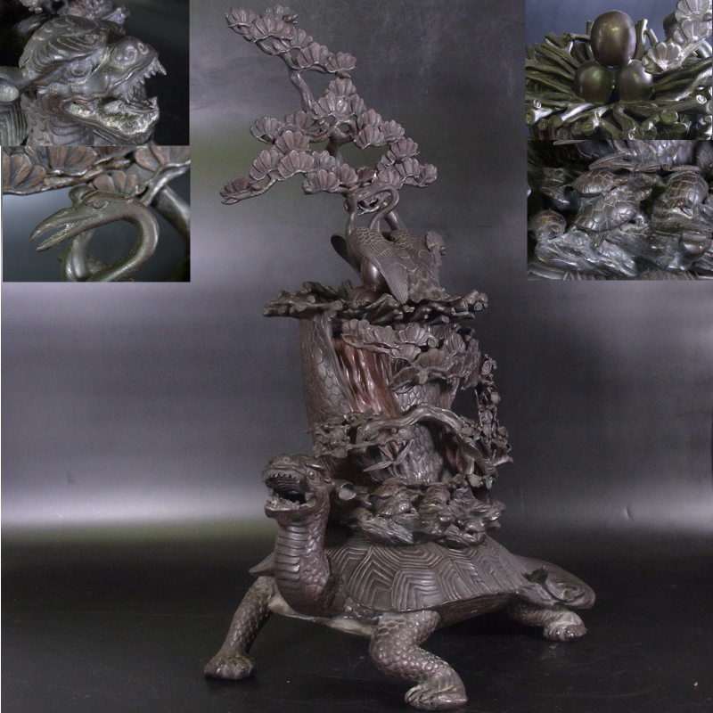 時代 銅器 亀鶴松木彫刻巣卵蓋 花入 壷 花器 高さ74cm 特大 骨董 時代 古美術品