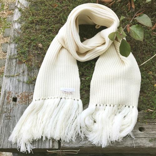KETTY ケティ ロング マフラー オフホワイト イタリア糸使用 【中古】_画像1