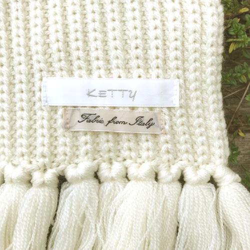 KETTY ケティ ロング マフラー オフホワイト イタリア糸使用 【中古】_画像3