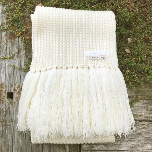 KETTY ケティ ロング マフラー オフホワイト イタリア糸使用 【中古】_画像2