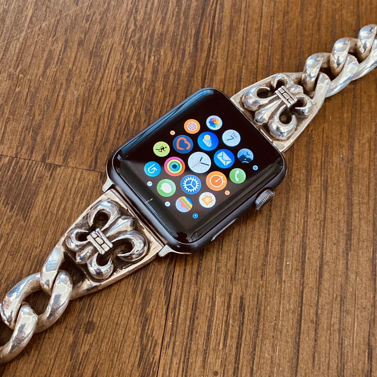 シルバー925 アップルウォッチ用バンド リリー フレア ベルト ブレスレット SV925 apple watch Series シリーズ1.2.3.4.5装着可能