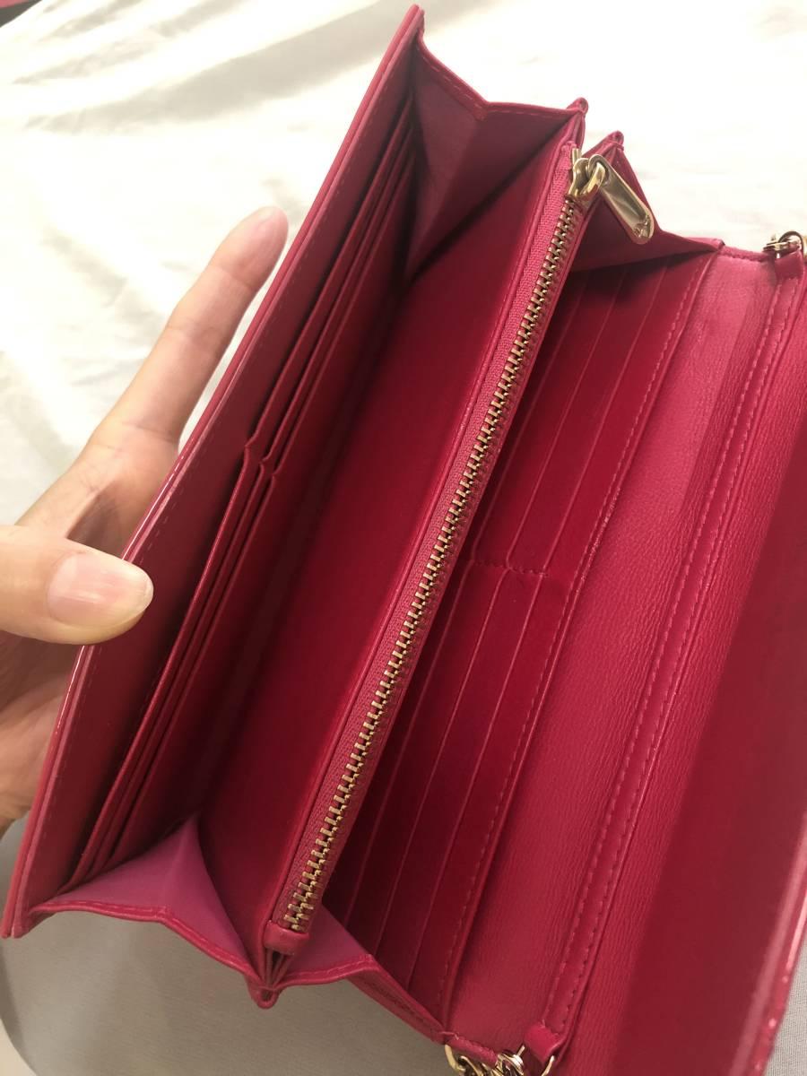 【Christian Dior/長財布】ディオール/ウォレット/チェーン/ビビッドピンク_画像9