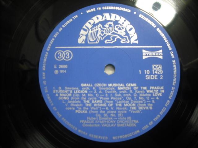 チェコSUPRAPHON1 10 1429 スメターチェク指揮/SMALL CZECH MUSICAL GEMS 青小字盤_画像3