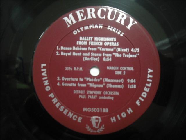 米MERCURY MG50318 パレー指揮/BALLET HIGHLIGHT FROM FRENCH OPERA LIVING-PRESENCE アヅキ銀盤 _画像3